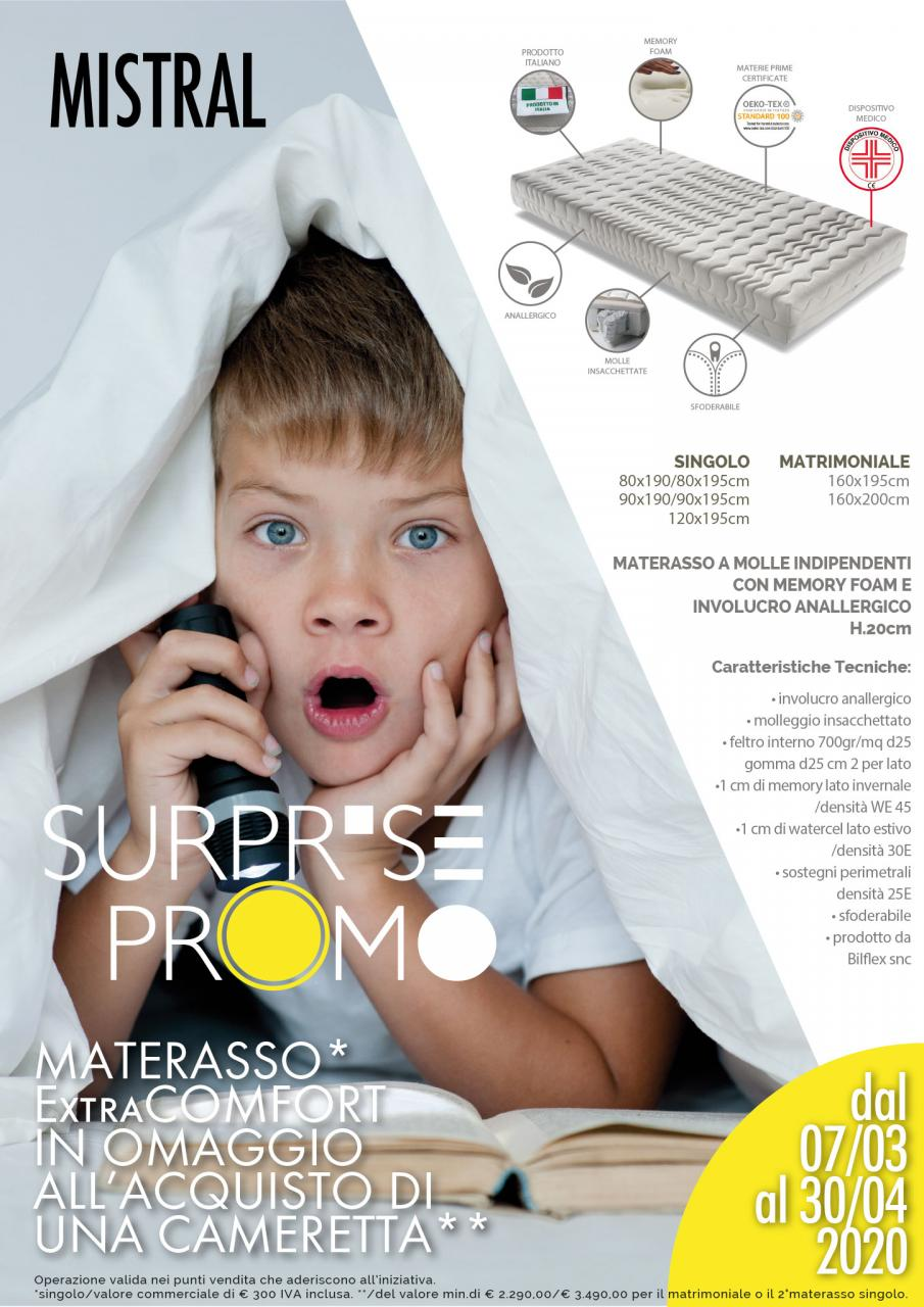 Surprise Promo:  materasso ExtraCOMFORT in omaggio all'acquisto di una cameretta